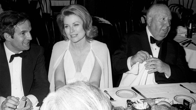 NEW YORK CITY, UNITED STATES - APRIL 29:  Francois Truffaut, Princess Grace of Monaco and Alfred Hitchcock during the Lincoln Centre Tribute to Alfred Hitchcock on April 29, 1974 in New York City.  (Photo by Tom Wargacki/WireImage)