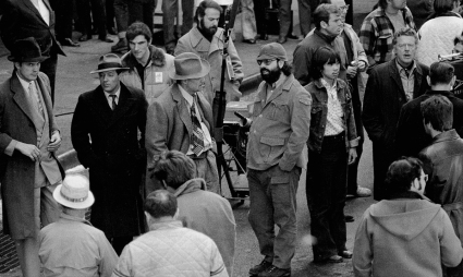 Making of movie The Godfather on Mott Street in Manhattan. Marlon Brando and Francis Ford Coppola talks about the scene where Marlon Brando plays Don Corleone in the movie and is gunned down outside Genco Olive Oil. (Photo By: Anthony Pescatore/NY Daily News via Getty Images)